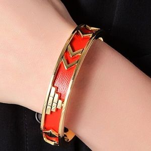 Aztec House Of Harlow Gold-Platd & Leather Bangle